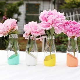 Craft, glass bottle, painted bottle, paint, centerpiece,DIY, spring table