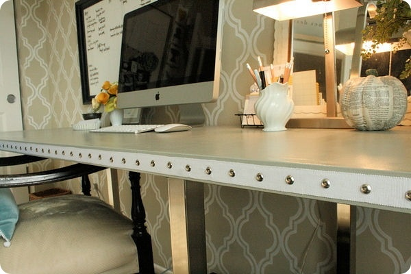nailhead, home office, trim, ribbon, desk, DIY