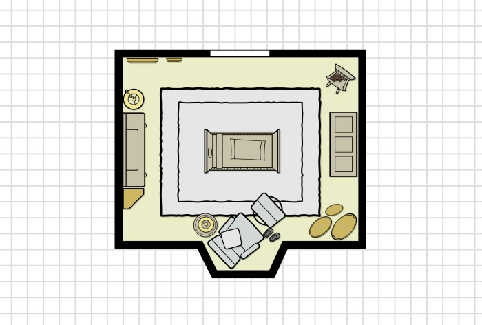 Nursery floor plan is ready for baby with all the furniture and storage necessary.